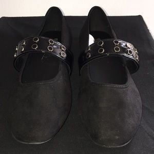Shoes - Black Flats with Top Strap. Size 8.5